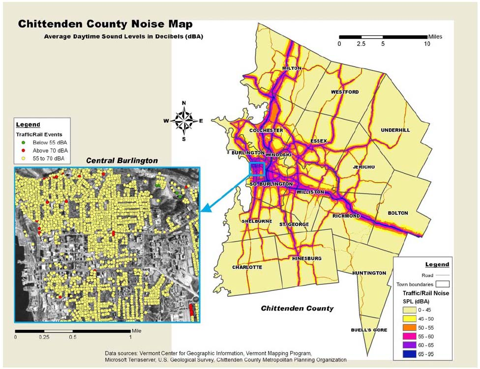The United States Was Probably One Created For Chittenden County In Vermont This Noise Map Produced In 2004 Took Into Account All Of The Major Roads